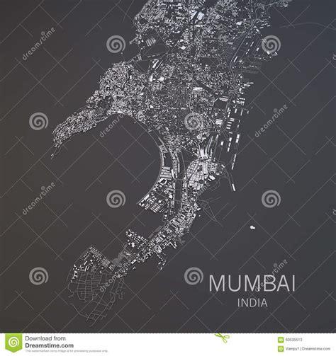 mumbai map satellite map of mumbai india satellite view stock illustration