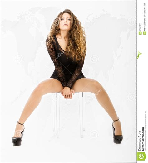 Ethnic Dress Y 1771 sitting with world background map and open legs