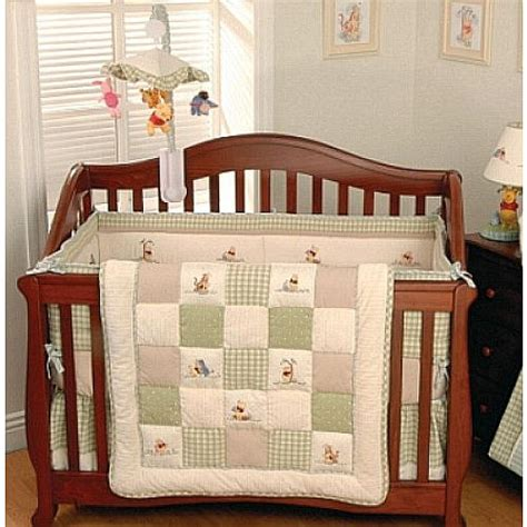 Disney Classic Pooh Crib Bedding Five Pc Classic Disney Winnie The Pooh Baby Crib Bedding Gingham Check Fleece