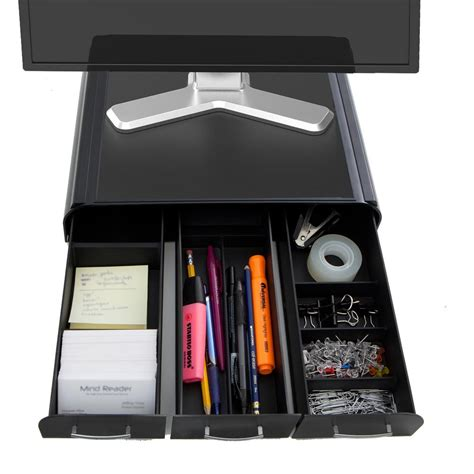 Black Desk Organizer Mind Reader Perch Pc Laptop Imac Monitor Stand And Desk Organizer In Black Monsta3d Blk The