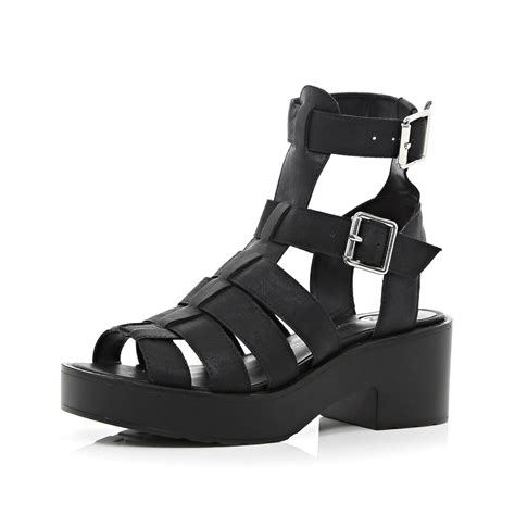 black chunky gladiator sandals river island black chunky high leg gladiator sandals in