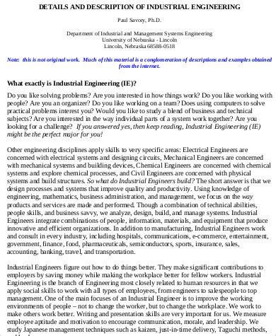 Industrial Engineering Description by Industrial Engineer Description Sle 8 Exles In Word Pdf