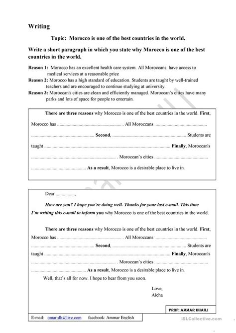 Esl Essay Writing Exercises by 7 Free Esl Guided Writing Worksheets