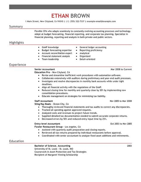 accountant resume templates accountant resume sle my resume