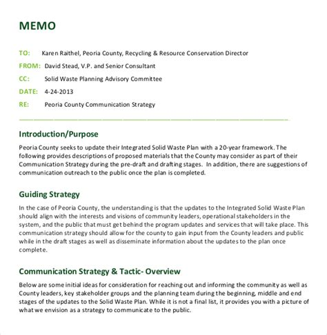How To Write A Memo Template by 12 Strategy Memo Templates Free Sle Exle Format