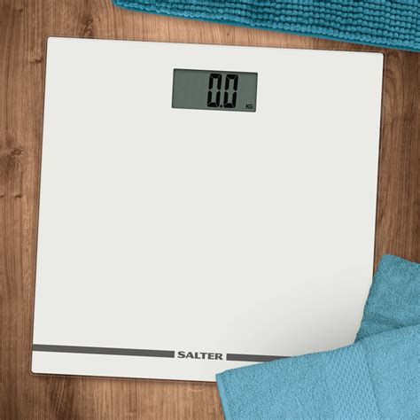 White Bathroom Scales by Salter Large Display Glass Electronic Bathroom Scale White