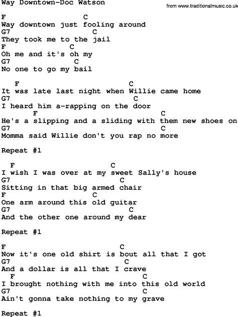 Printable Downtown Lyrics | country music way downtown doc watson lyrics and chords