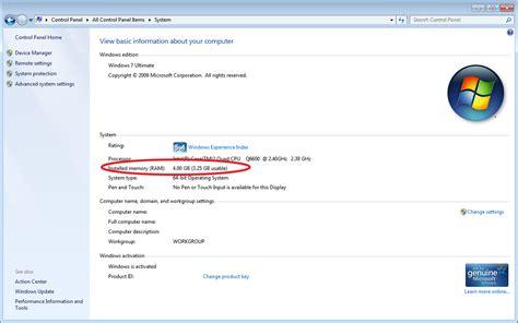 windows 7 usable memory