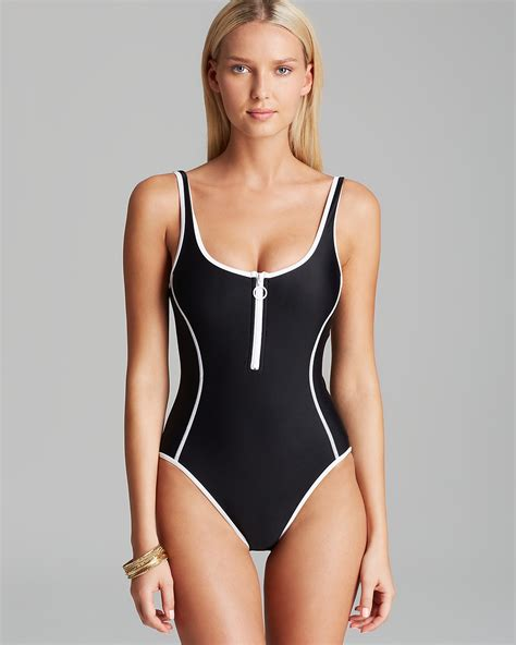 Front Zip Swimsuit couture sport pro solids zip front maillot one