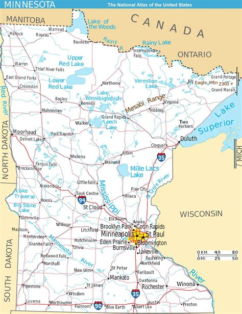 map of mn large detailed map of minnesota state with roads and major
