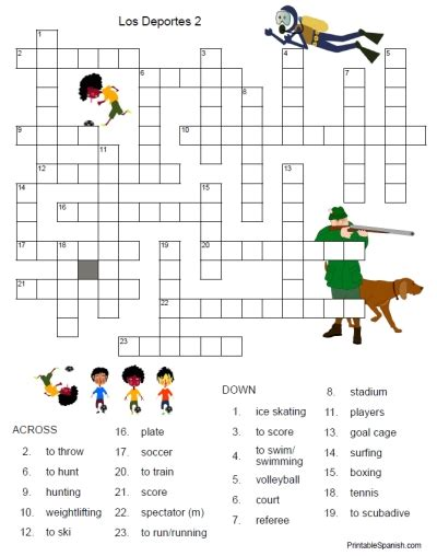 Diskon Puzzle Edukasi Match It Verb printable freebie of the day los deportes crossword puzzle 2 from printablespanish