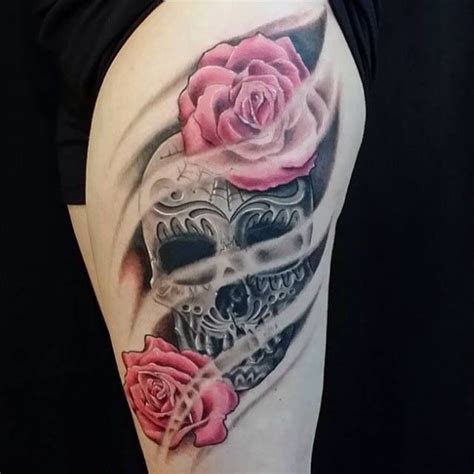 skull and rose tattoo on thigh best 25 sugar skull sleeve ideas on half