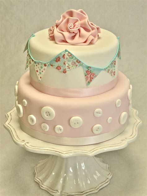 2 Tier Bunting And Buttons   Wedding Cakes   Cakeology