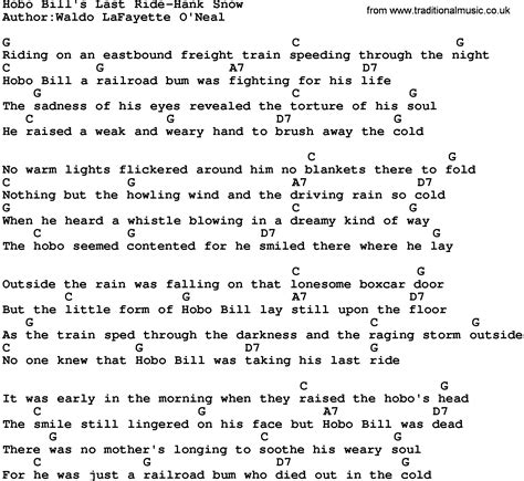 Strawberry Swing Chords by Country Hobo Bill S Last Ride Hank Snow Lyrics And