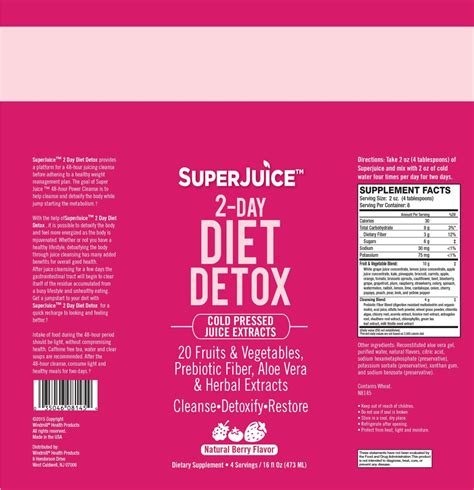 2 Day Post Detox by Juice 2 Day Diet Detox Windmill Vitamins