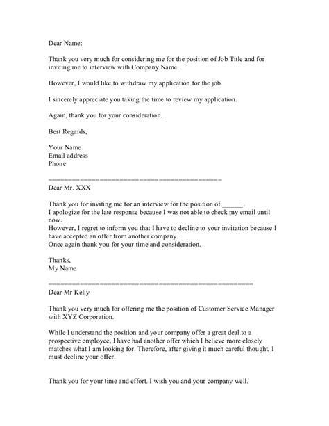 ideas collection example letter to decline a job offer after