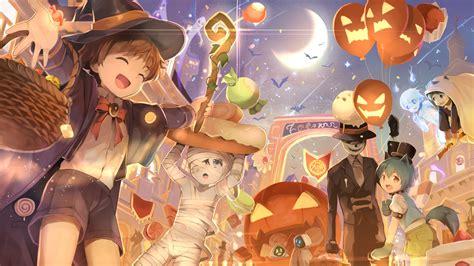imagenes halloween chica anime halloween fancy costumes and pumpkins full hd wallpaper