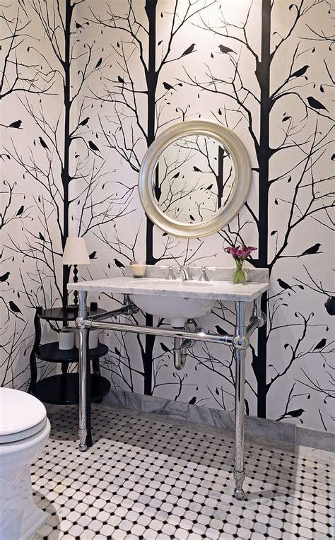 black and white wallpaper pattern for room always on trend 20 powder rooms in black and white