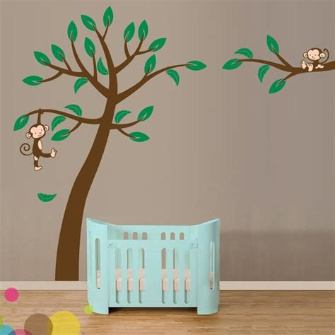 monkey curtains for baby room jungle tree with monkeys vinyl wall sticker life size