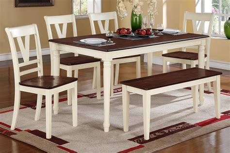 farmhouse dining set with bench 6pc farm house butter milk dining table chair set bench