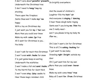 all want for is you testo song worksheet all i want for is you by