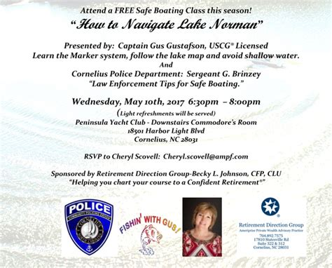 nc boating license classes free safe boating class on quot how to navigate lake norman