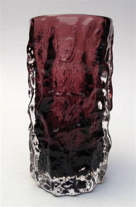Whitefriars Bark Vase whitefriars 6 quot aubergine bark vase geoffrey baxter 9689 mid century glass ebay