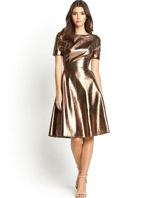 Metallic Dresses by By Look Metallic Skater Dress In Gold