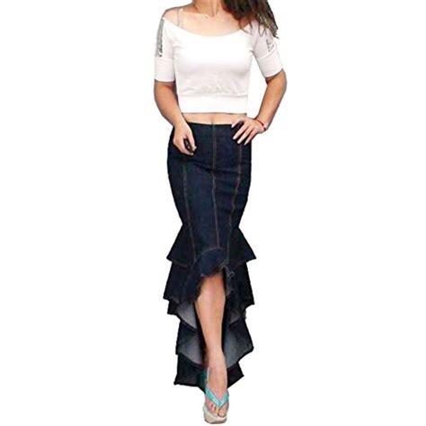 zicac womens denim skirts ruffle fish maxi skirt a