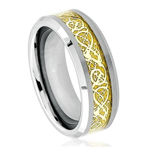 pattern gold wedding band black tungsten carbide wedding band ring mens jewelry