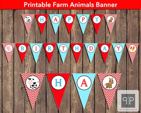 free printable birthday banner download items similar to instant download farm animals birthday