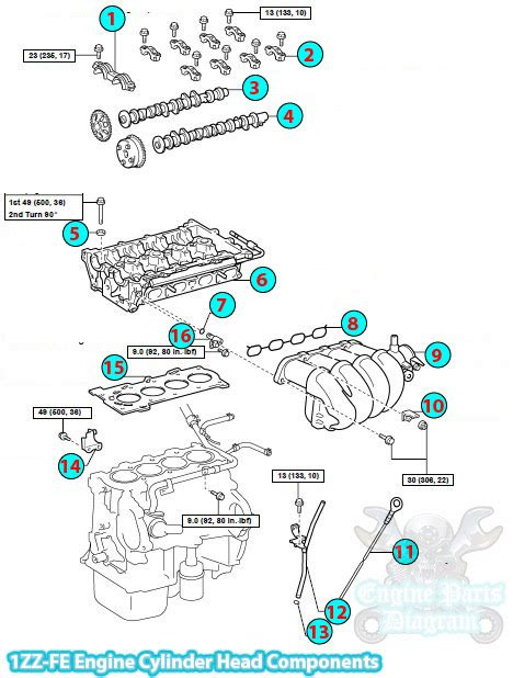 toyota matrix cylinder head components zz fe engine