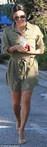Mango Tas Franje longoria looks stunning in thigh skimming khaki shirt dress in la daily mail