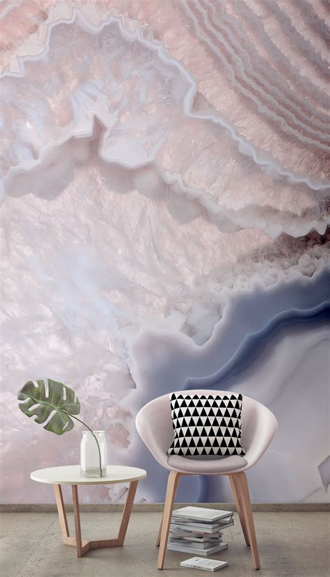rose quartz pink crystal wallpaper mural natural home