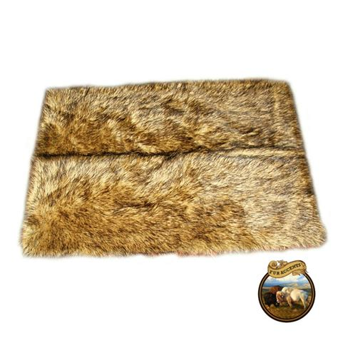 Fur Area Rug Premium Faux Fur Area Throw Rug Rectangle Light Wolf Pelt