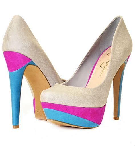 bright patterned heels bright colored high heels