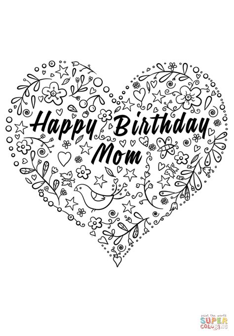 coloring pages for happy birthday mom happy birthday mom coloring page free printable coloring