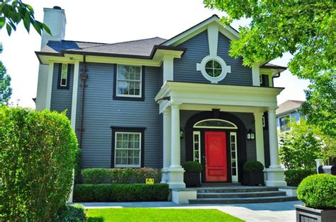 grey house with red door dark grey house with red door ideas and images