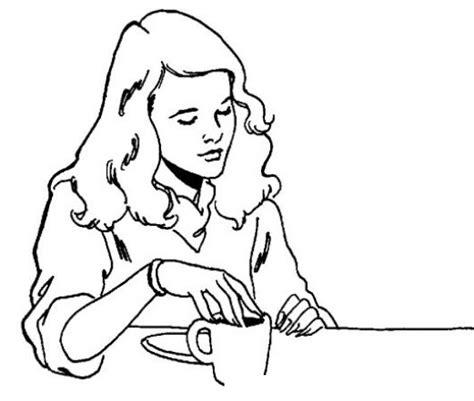 imagenes animadas tomando cafe dibujo de chica tomando cafe para pintar y colorear