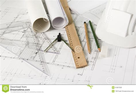 house drawing tool architectural blueprints and drawing tools stock photos
