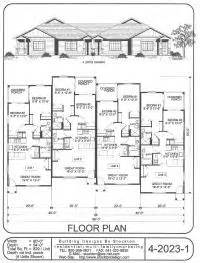 three plex floor plans multi family home and building plans