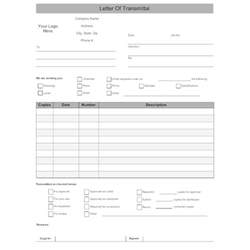 Transmittal Letter Excel Letter Of Transmittal Form
