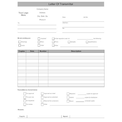 Engineering Transmittal Letter Template letter of transmittal form