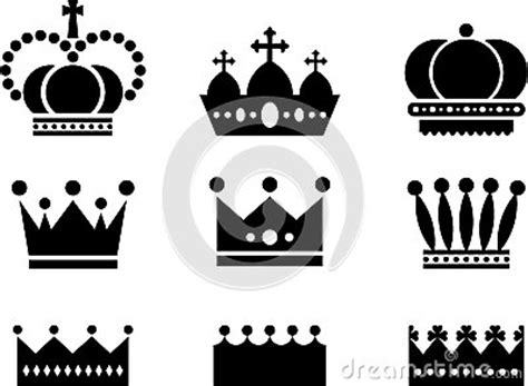 royal crown icons black white stock images image