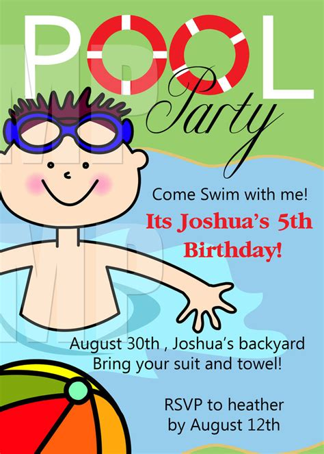 swimming invitation template free printable birthday pool invitations templates
