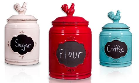 rooster canisters kitchen products rooster kitchen canisters with chalkboard fronts groupon
