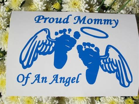 baby feet with wings proud mommy of an angel decal in