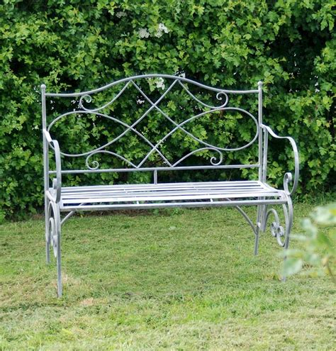 shabby chic garden bench shabby chic steel grey garden bench savvysurf co uk