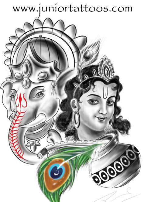 tattoo designs of lord krishna lord ganesha and krishna by pradeep71988 on deviantart