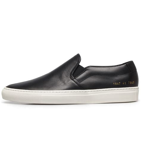 Common Projects Slip On common projects black leather slip on sneakers in black for lyst
